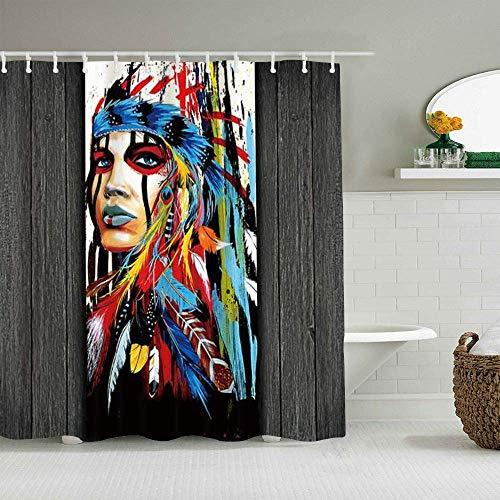 Cortina de Ducha Chica India nativa Americana Modernismo Pintura Mujer Jefe con Plumas de Colores Forros de baño Impermeables etnológicos Ganchos incluidos - Ideas Decorativas para el baño