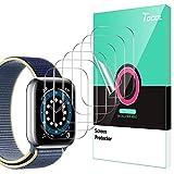 TOCOL 6 Stück Schutzfolie kompatibel mit Apple Watch Series 6 SE 5 4 44mm Klar HD Weich TPU Folie Nicht Glas Blasenfreie Kompatibel mit Hülle Bildschirmschutz
