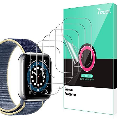 TOCOL 6 Stück Schutzfolie kompatibel mit Apple Watch Series 6 SE 5 4 44mm Klar HD Weich TPU Folie Nicht Glas Blasenfreie Kompatibel mit Hülle Displayschutz