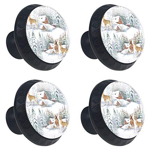 Schubladenknöpfe Schrankknöpfe Kleiderschrank 4 Stück Türgriffe Möbelknöpfe Ziehgriffe verblassen nicht Winterkarte mit Weihnachtsbaum, Hirsche im Winterlandschaft, 3.5×2.8CM/1.38×1.10IN