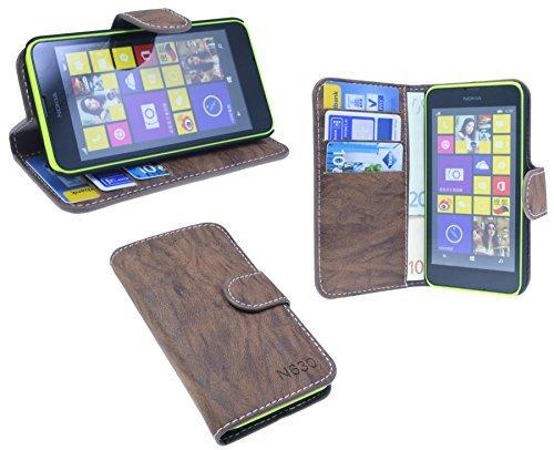ENERGMiX Buchtasche kompatibel mit Nokia Lumia 630/635 Hülle Case Tasche Wallet BookStyle mit Standfunktion Braun