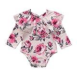 BeautyTop Baby Jungen Mädchen Neugeborenen Langarm Floral Rüschen Strampler Overall Kleidung Langarm Herbst Winter Hoch Qualität Materialien Promotionen (Beige, 0-6Monate)