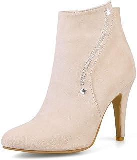 Pumps Suede Pointed Toe Platform Ankle Boots, Zippper Rivets Women's Stiletto Heels Party Short Bootie