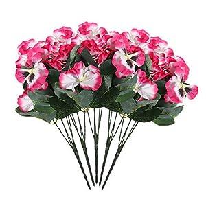 Silk Flower Arrangements Idlespace 10 Head Simulation Pansy Flower Plant Bunch Artificial Silk Bouquet for Festival, Wedding, Home & Room Office Floral Decor
