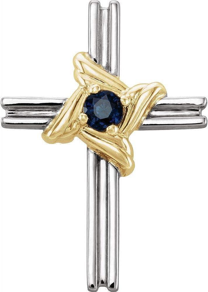 Solitaire Blue Sapphire Cross Crucifix Charm Pendant (18mm x 12mm)