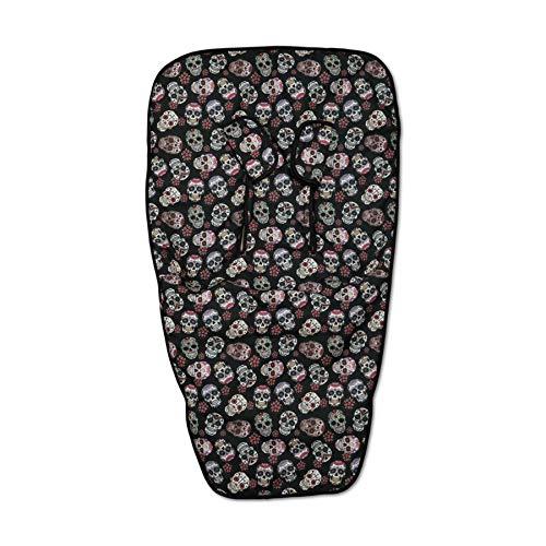 Babyline Lovely Skull - Colchoneta para silla, unisex, color negro