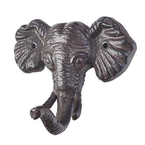 HHTX Ganchos para Abrigo Forma de Elefante Decoración para Colgar en la Pared Ganchos de Pared Decorativos Juego de 6 Ganchos de Entrada creativos Perchero de Hierro Fundido Elegante Antiguo para