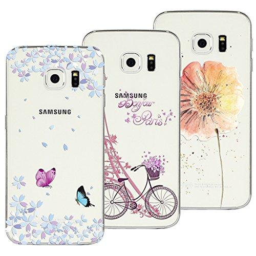 Yokata 3X Cover per Samsung Galaxy S6 Edge Custodia Silicone Gel TPU Trasparente con Disegni Cover Morbida Ultra Sottile Slim Antiurto Protettiva Case Cover - Torre Bicicletta + Farfalla + Fiore