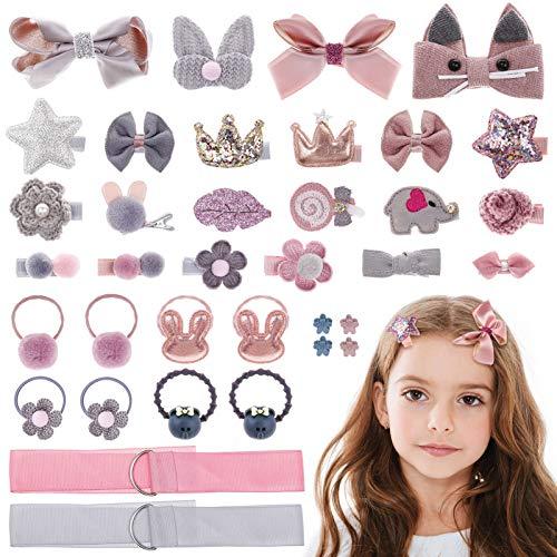 MELLIEX 36 Stück Haarspangen Set Mädchen, Baby Haarschmuck Haarschleife Klein Haarnadeln Kinder Haarklammern Set Kopfschmuck Rosa & Grau