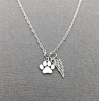 Sterling Silver Pet Memorial Necklace Loss of Cat or Dog Gift Paw Print Angel Wing Jewelry