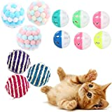 Juguetes para Gatos Pelotas, 12PCS Bolas para Gatos con Campana, Juguetes Coloridos para Gatos para Interiores, Pelotas de Peluche para Gato, Juguetes interactivos para Gatos Pelotas(Color Aleatorio)