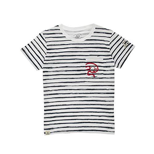 El Niño - Camiseta de algodón con Rayas y Bolsillo para niños, Blanco, Talla 16 años