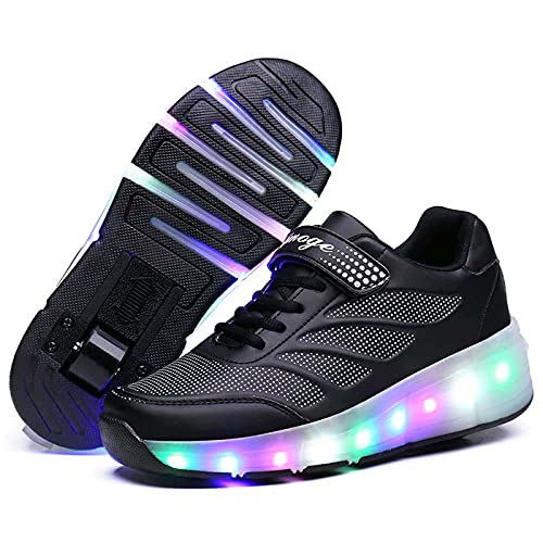 Zapatos De Patines De Ruedas LED Para Niños, Zapatillas De Deporte Iluminadas Ruedas Simples / Dobles Zapatillas De Skate Técnicas Zapatillas De Gimnasia Para Exteriores Con Carga USB,Black a,34