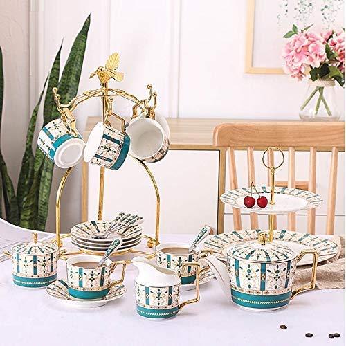 Set di 23 caffè Pomeridiano Europeo in Porcellana Set da tè con 1 Caffettiera 6 Tazza 6 Cucchiaio 6 Piattino 1 Lattiera 1 Zuccheriera 1 Ripiano E 1 Piatto Frutta (02) Regalo Perfetto