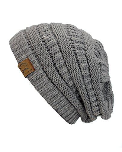 C.C Trendy Warm Chunky Soft Stretch Cable Knit Beanie Skully, Light Melange