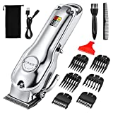ATMOKO All-Metal Long Hair Clippers for Men Professional,3 Hour Charge for Half a Year Use,Rechargeable Hair Clippers Cordless, Adjustable Hair Trimmer & Barber Grooming Kit for Home Barber Silver