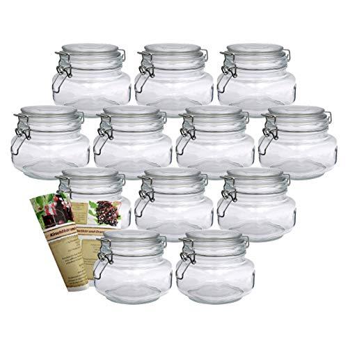gouveo 12er Set Bügelgläser 500 ml Quadrat incl. 28-seitige Flaschendiscount-Rezeptbroschüre Aufbewahrungsgläser mit Bügelverschluss