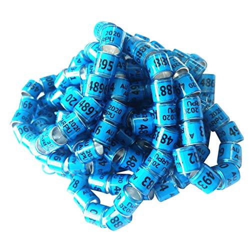 PETSOLA Fußringe Vögel 8mm 100 Stück Klemmringe für Vögel Taubenringe Bein Ringe Geflügel Bands Nummerierte Plastikgeflügel Beinringe - Blau, USA