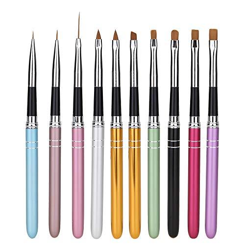 Kalolary 10pcs Nail Art Brush Set, Professionele Acryl Nail Art Brush Pen Schilderij Bloem Pen Pull Pen Gradient Pen Nail Tool Nail Art Brush Pen Liner Set voor 3D Acryl UV Gel Tekenen Schilderij