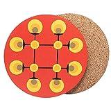 Design Untersetzer rund (2er Set) für Gläser & Tassen 70er Jahre Deko aus Kork, Farbe:rot