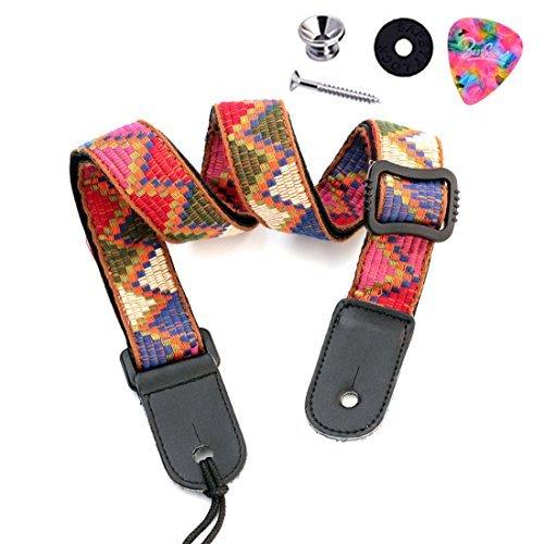 BestSounds Ukulele Strap Soft Cotton & Genuine Leather - Hawaiian Vintage Jacquard Woven Uke Shoulder Strap (Rainbow LT002)