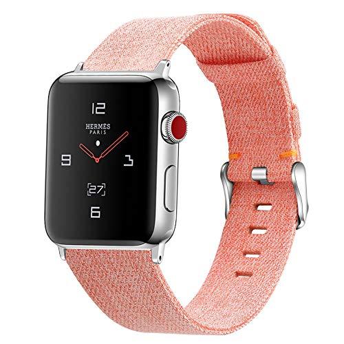 Correa de Lona de Nailon para Apple Watch 38mm 40mm 42mm 44mm, Correa con Hebilla de Metal Compatible con Iwatch Serie 5 Serie 4 Serie 3 Serie 2 Serie 1,B,42mm/44mm