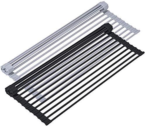Aogbithy - Escurreplatos de silicona suave enrollable, plegable, escurridor para fregadero de cocina, escurridor para fregadero de cocina, escurridor de platos sobre el fregadero (negro, 16,9 x 13)