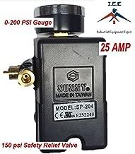 25 AMP Air Compressor Pressure Switch 4 Port 95-125 PSI w/ Back Mount 0-200 PSI Gauge 150 PSI pop off valve
