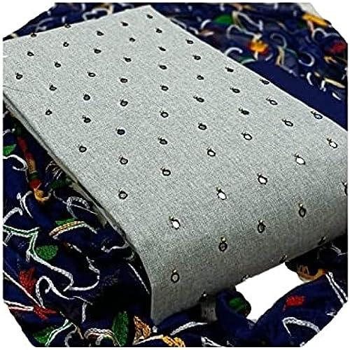Women Fancy Designer Mirror Work Slub Cotton Unstitched Dress Material with Aari Work Chiffon Dupatta