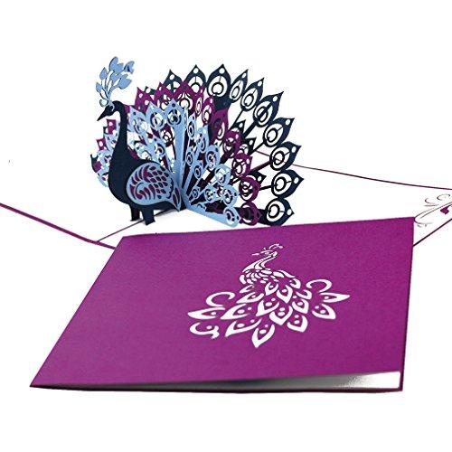 """3D Pop Up Karte """"Pfau – Pfauenfedern"""" - edle Geburtstagskarte, Pfauen Hochzeitskarte und Einladung in Violett – Glückwunschkarte & Einladungskarte zu Hochzeit & Geburtstag mit Umschlag"""