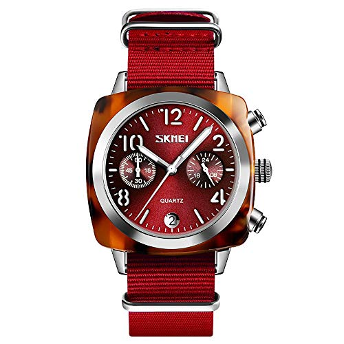 Diommest Women's Creative Trend Watch, Couple Plein Watch, Nylon Fashion quartz horloge Timing Kalender Fashion Horloges voor mannen (Color : Red, Size : Style-A)
