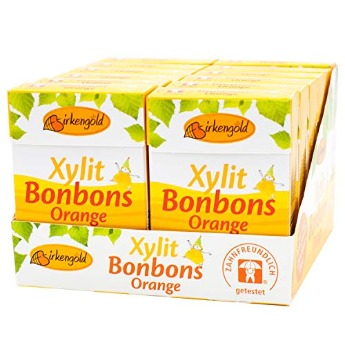 Birkengold Xylit Bonbons Orange zuckerfrei, 12er Pack | zahnpflegend | zuckerfrei | mit 100 % europäischem Xylit | natürliche Zutaten, 1306