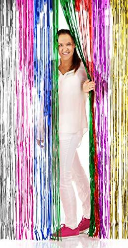 Folat 09205 - Lámina de Flecos para Puerta, diseño de Arco Iris, 2 x 1 m, Multicolor