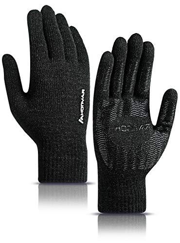 HONYAR Winterhandschuhe Herren, Stricken Handschuhe Damen Touchscreen Handy mit Winter Warm Gefüttert - Elastische Manschette - Rutschfester Griff - Laufhandschuhe Autofahren Fahrrad - Schwarz (L)