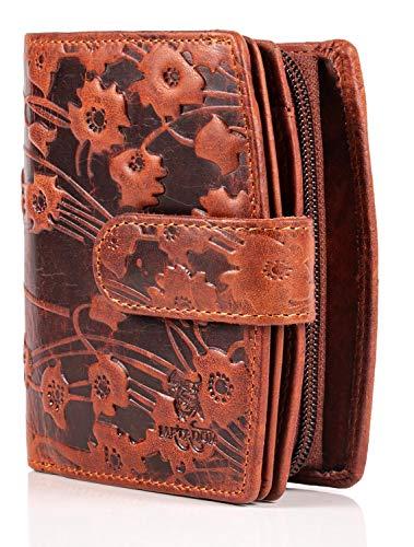 MATADOR Damen Portemonnaie Echt Leder – TÜV Geprüfter RFID & NFC Schutz - Geldbörse Blumen Design - Geldbeutel inkl. Geschenk-Box