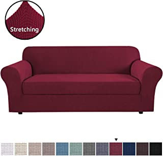 H.VERSAILTEX Burgundy Red Color 2-Piece Spandex Stretch Sofa Slipcover for 4 Seater Sofa, Machine Washable Furniture Protector for Kids,Pet, Sofa X-Large Size