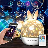 Night Lights for Kids, Timer Remote Control Bluetooth Night Light Star Projector Lamp Colors Changing Lamp for Christmas and Parties, Best Gift for a Baby's Bedroom(Bluetooth connection to play music)