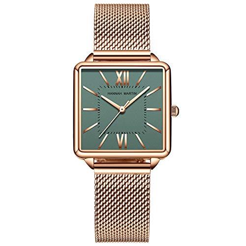 Hannah Martin Damenuhr Roségold/Silber Mesh Edelstahlarmband Lässige wasserdichte Armbanduhr für Damen mit quadratischem Zifferblatt (Green)