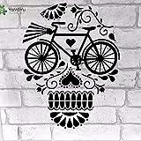 BailongXiao Vinilo Tatuajes de Pared Calavera Flora Bicicleta Personalidad Interior habitación Infantil Artista hogar Decorativo Pegatina 42x54cm