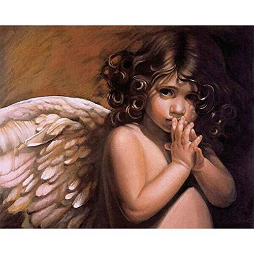 JCKSimpleLife Digitale Erwachsenenmalerei, Engel DIY Kinder Handgemalte Malerei Set Mit Vorgedruckter Leinwand (Rahmenlos) 40x50 cm