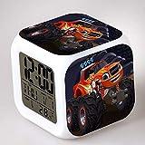XLZZLDZ Reloj Despertador 2017 nuevos Relojes Luminosos de plástico LED Reloj Despertador Digital Blaze and The Monster Machines Reloj Despertador niños, Rojo