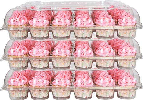 10-Pack of 24-Compartment Stackable Cupcake Carrier (240 Cupcake Holders) - High Tall Dome Clear Cupcake Boxes for Mini or Full-Size Cupcakes, Cupcake Containers Plastic Disposable, Cup Cake Holders