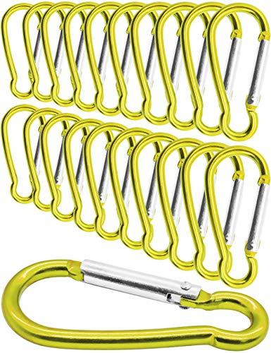 Outdoor Saxx® - Lot de 20 mini mousquetons en aluminium, mousquetons en S, mousquetons pour fixation d'équipement au sac à dos, ceinture, tente, canoë, 5,8 cm, lot de 20, jaune.