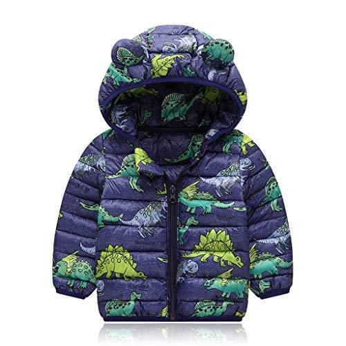 Shineshae Baby Jungs Mädchen Bodywarmer Steppjacke Daunenjacken Cartoon Dinosaurier Motive Jacken Mantel Übergangsjacke Dicke Outdoor Reißverschluss Softshelljacke Winterjacke mit Kapuze