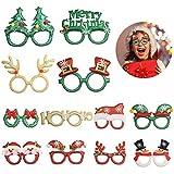TAZEMAT 12 Stück Weihnachten Brille Rahmen Glitzernde Weihnachtsgläser Mehrfarbige Fotorequisiten...