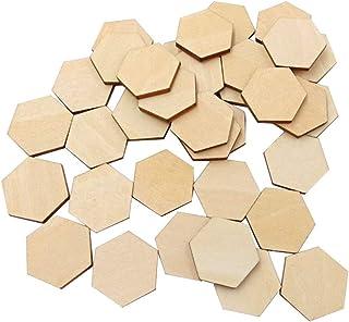 Artibetter 100 Piezas de Madera Hexagonal de Madera con Forma de Madera de Haya para proyectos de Arte de Bricolaje listos...