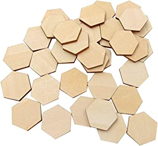 Artibetter 100 Wooden Pieces Hexagon Wood Shape Beech Wood for DIY Arts Craft Project Ready to Paint or Decorate (25mm)