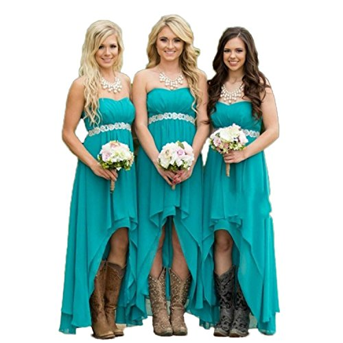 Fanciest Women' Strapless High Low Bridesmaid Dresses Wedding Party Gowns Turquoise US16