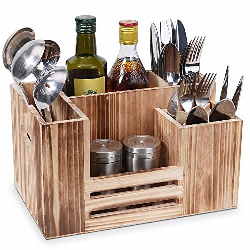 Besteckbehälter Holz, Besteckhalter, Besteckträger für Besteck Servietten Salzstreuer Saucen, 8 Fächer Küchenutensilien Halter Multifunktion Aufbewarhungsbox für Tisch Gastro Party Picknick