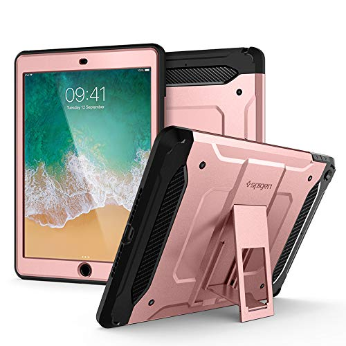 Spigen Tough Armor TECH mit passgenauem Hartglas, Kompatibel mit iPad 9.7 (2018/2017) Hülle - Rose Gold